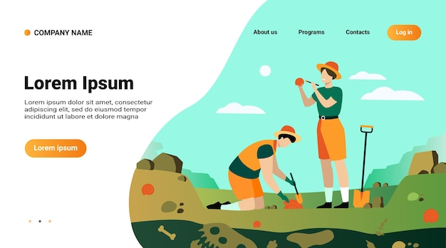 Modelo de site, página de destino com ilustração de um arqueólogo descobrindo restos de dinossauros