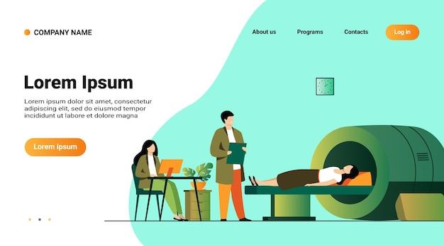 Modelo de site, página de destino com ilustração do conceito de exame médico e diagnóstico
