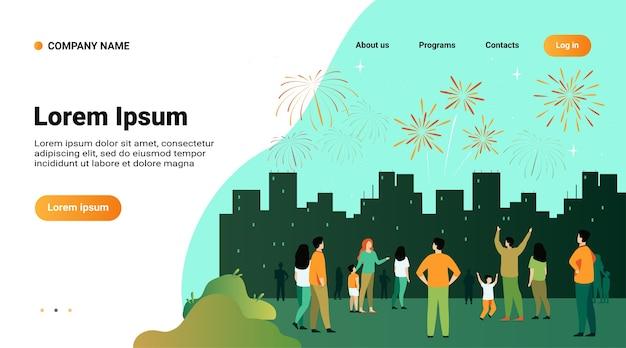 Modelo de site, página de destino com ilustração do conceito de noite festiva de cidade