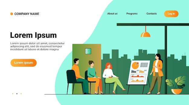 Modelo de site, página de destino com ilustração do treinador falando para o público