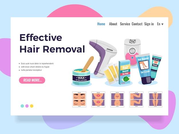 Modelo de site para o design da página de depilação com métodos eficazes, ilustração vetorial plana