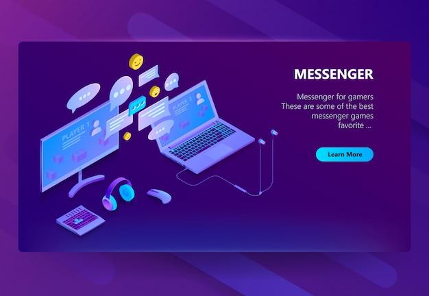 Modelo de site para o messenger, chat online