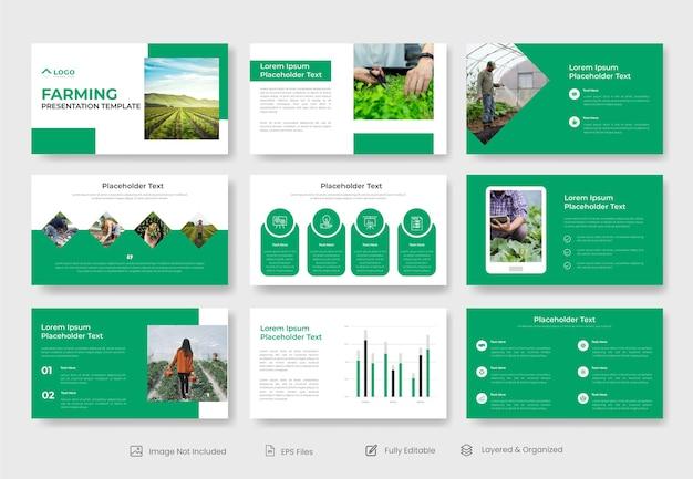 Modelo de slide de apresentação de agricultura agrícola ou modelos de apresentação de powerpoint de agricultura orgânica