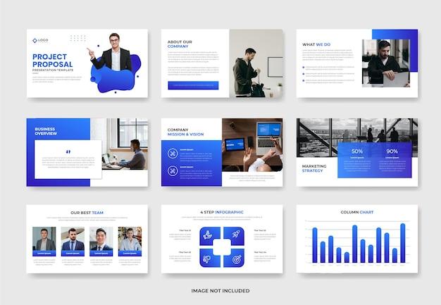 Modelo de slide de apresentação de powerpoint de proposta de projeto de negócios ou apresentação de perfil da empresa