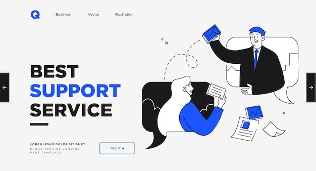 Modelo de slide de apresentação ou design de site da página de destino ilustrações de conceito de negócios