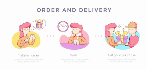 Modelo de slide de apresentação para. ilustração do conceito de compras. ilustração vetorial
