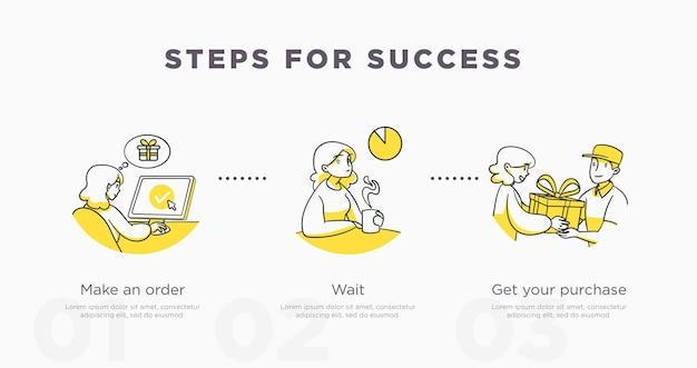 Modelo de slide de apresentação para. ilustração do conceito de compras. vetor