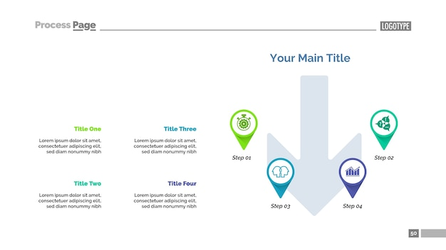 Modelo de slide de estratégia de quatro ponteiros