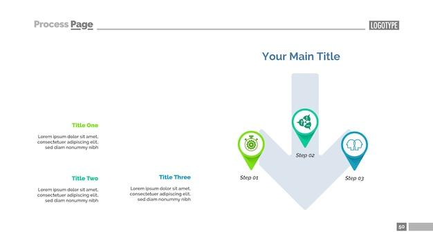 Modelo de slide de estratégia de três ponteiros
