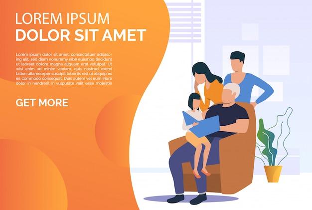 Modelo de slide de família a passar tempo juntos em casa