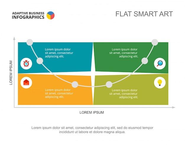 Modelo de slide de fluxo de trabalho de quatro opções