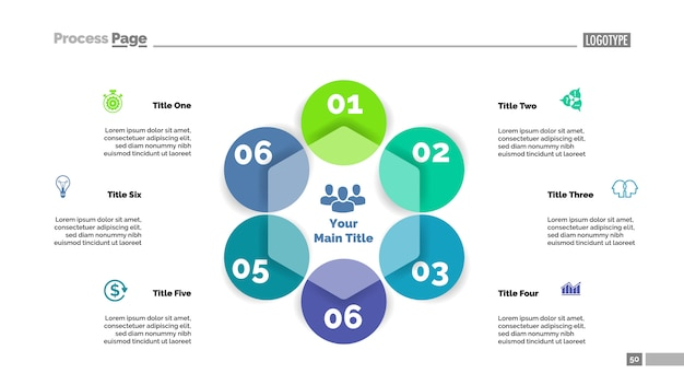 Modelo de slide de fluxograma de seis círculo. dados da empresa. gráfico, diagrama