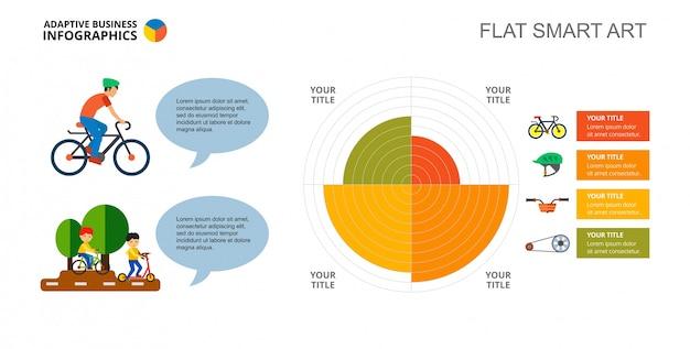 Modelo de slide de gráfico de torta de ciclismo