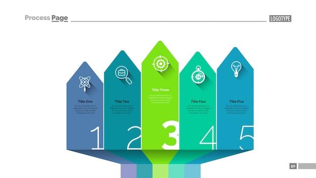 Modelo de slide de infografia de design de seta