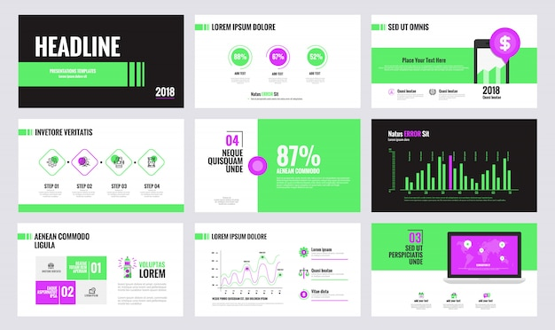 Modelo de slide de infográficos