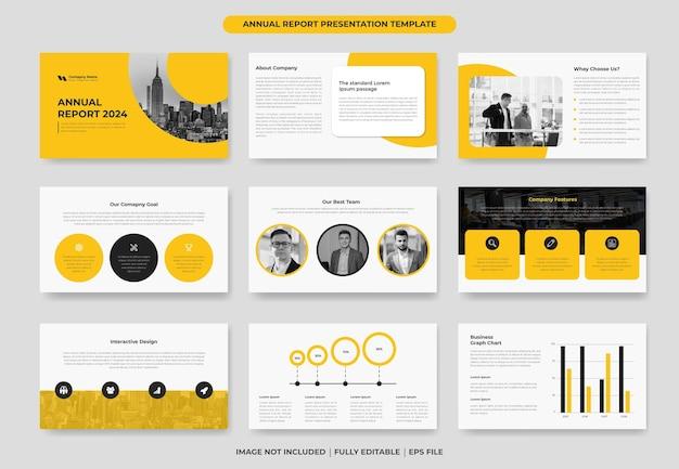 Modelo de slide de powerpoint de relatório anual ou modelo de projeto de proposta
