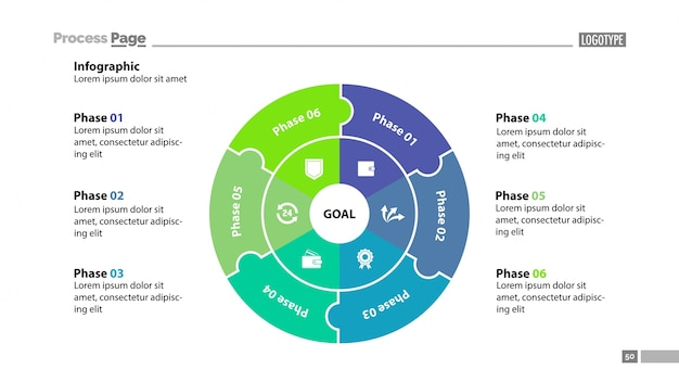 Modelo de slide dos setores de seis círculos
