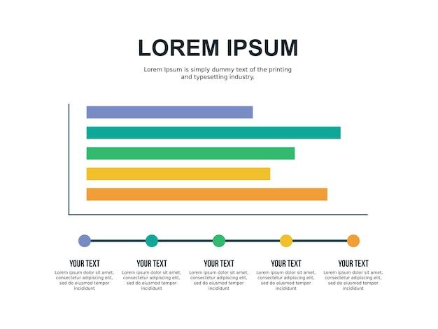 Modelo de slide e gráfico de cinco gráficos
