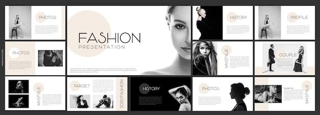 Modelo de slides criativos para apresentação de moda