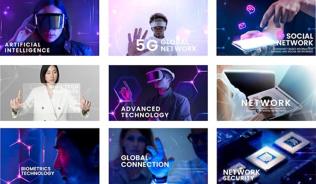Modelo de slides de apresentação com inteligência artificial e conceito de tecnologia