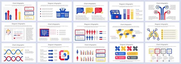 Modelo de slides de apresentação de infográficos de serviços médicos de pacote