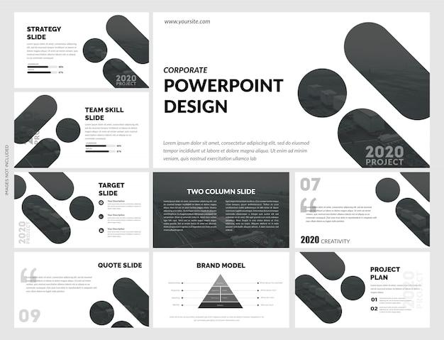 Modelo de slides preto e branco criativo