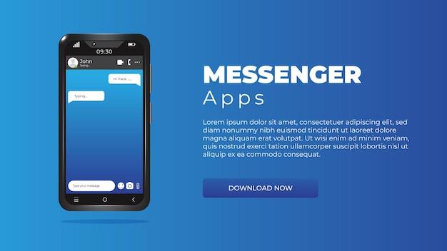 Modelo de smartphone 3d realista com aplicativos de mensagens