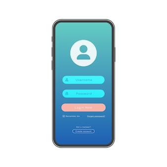 Modelo de smartphone com fundo moderno de página de formulário de login para elementos de interface do usuário do site