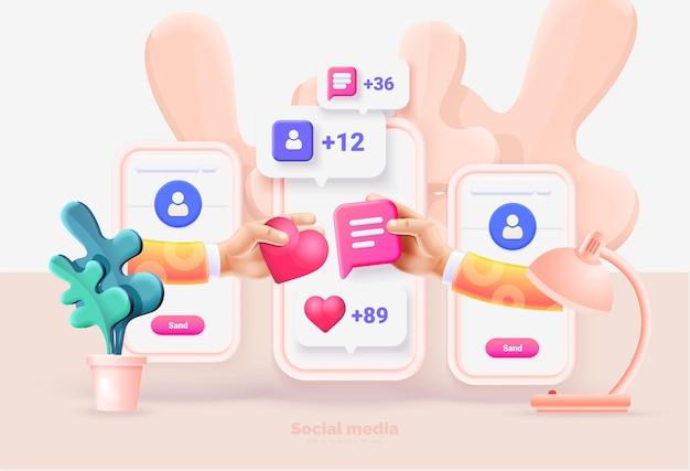 Modelo de smartphone com interface de usuário de mídia social
