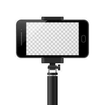 Modelo de smartphone com tela vazia e monopé.