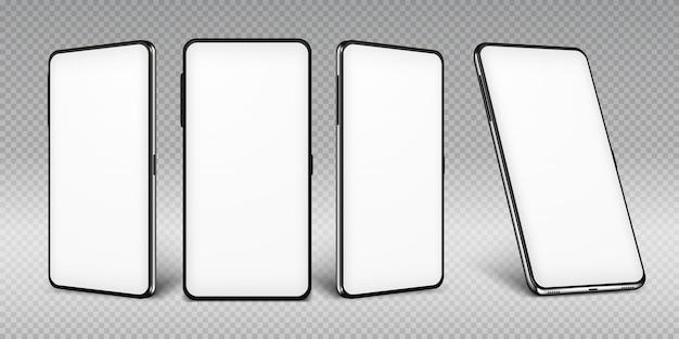 Modelo de smartphone realista. quadro de celular com modelos isolados de tela em branco, pontos de vista de diferentes ângulos do telefone.