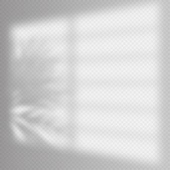 Modelo de sobreposição de sombras realistas. moldura de sombra veneziana de janela e palmeira, luz natural suave interior. efeito de sobreposição de sombra.