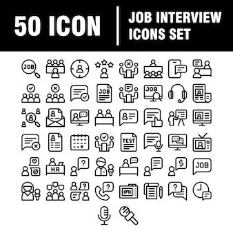Modelo de ss uploadjob conjunto de ícones de entrevista. linear. escolha do empregado.