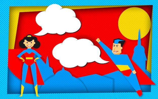 Modelo de super heróis no estilo de quadrinhos com bolhas vazias