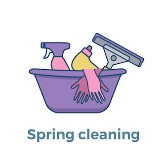 Modelo de suprimentos de limpeza doméstica com elementos definidos em estilo simples de contorno.