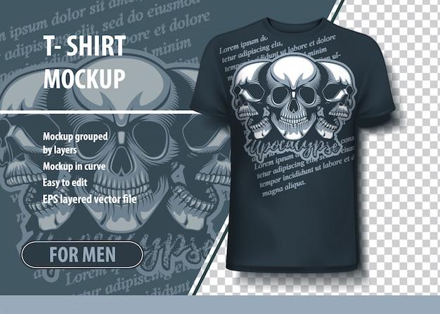 Modelo de t-shirt de crânios de árvore