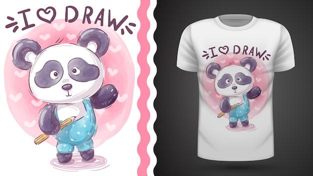 Modelo de t-shirt de panda de pelúcia