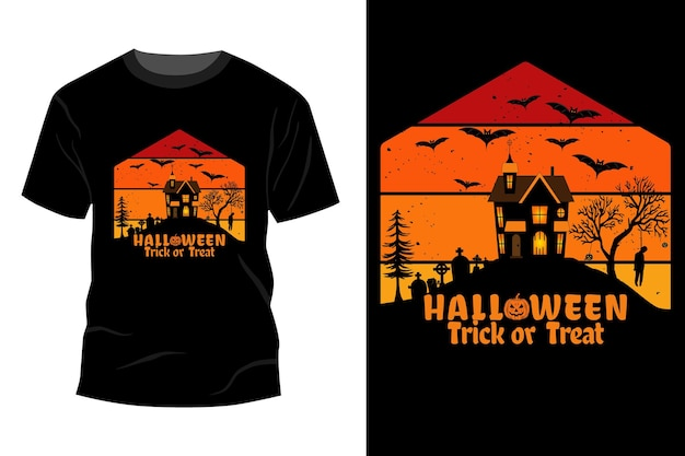 Modelo de t-shirt doçura ou travessura de halloween com design vintage retro