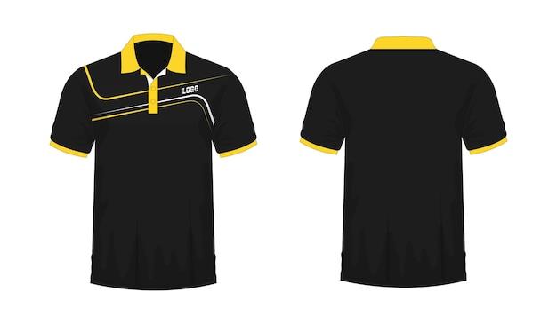 Modelo de t-shirt polo amarelo e preto para design sobre fundo branco. ilustração em vetor eps 10. Vetor Premium