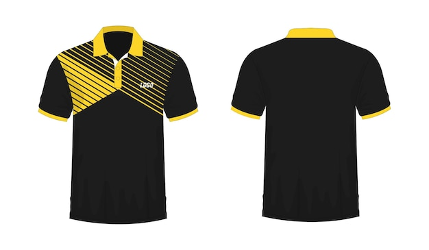 Modelo de t-shirt polo amarelo e preto para design sobre fundo branco. ilustração em vetor eps 10.
