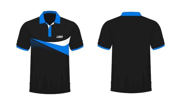 Modelo de t-shirt polo azul e preto para design sobre fundo branco. ilustração em vetor eps 10.