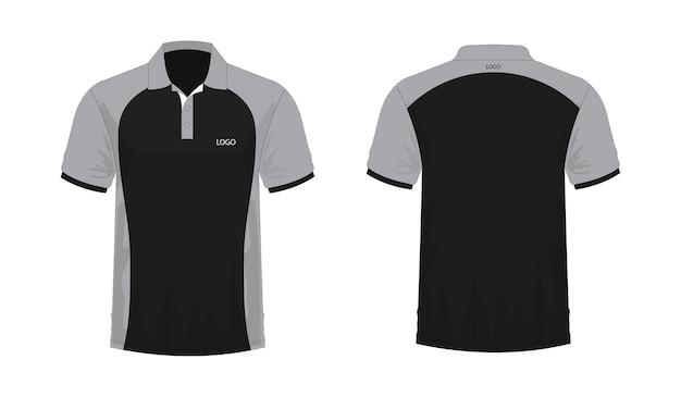 Modelo de t-shirt polo cinza e preto para design sobre fundo branco. ilustração em vetor eps 10.