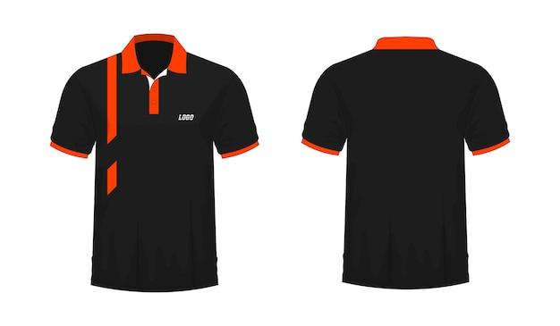 Modelo de t-shirt polo laranja e preto para design sobre fundo branco. ilustração em vetor eps 10.