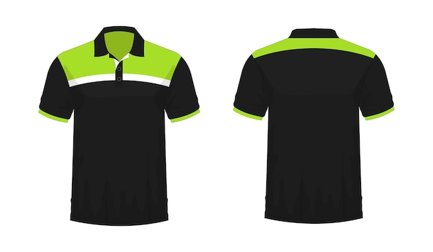 Modelo de t-shirt polo verde e preto para design sobre fundo branco. ilustração em vetor eps 10.
