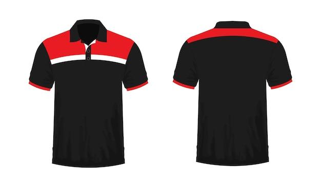 Modelo de t-shirt polo vermelho e preto para design sobre fundo branco. ilustração em vetor eps 10.