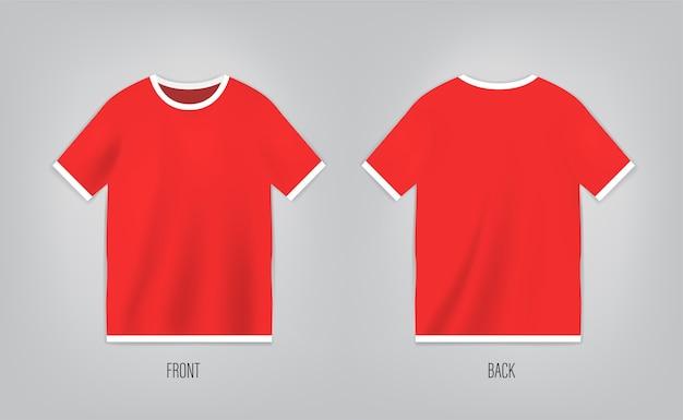 Modelo de t-shirt vermelha com manga curta. camisa frente e verso