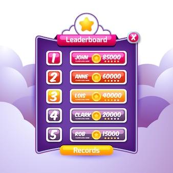 Modelo de tabela de classificação de desenho animado para o jogo