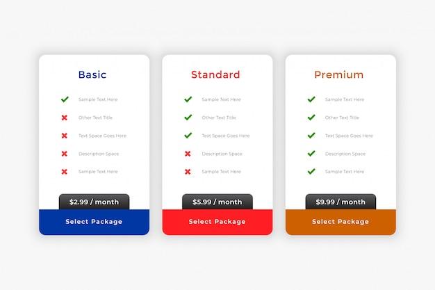 Modelo de tabela de planos e preços comerciais limpos