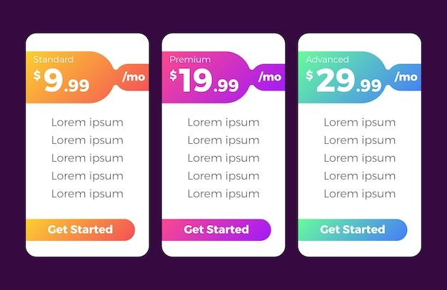 Modelo de tabela de preços moderna