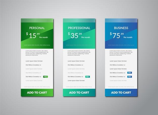 Modelo de tabela de preços verde e azul